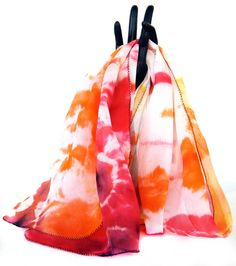 Handmade tie dye silk scarf, boho scarf, red white orange silk scarf by KavitaKriti, $28.00