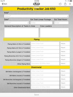 Construction productivity tracking form example on the inBound app.