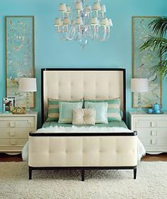 refreshing bedroom... Love the 'Tiffany' blue & its not too feminine, so just maybe my hubby might enjoy it, too!!... Newly Bedroom scheme, possibly(^*