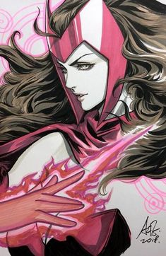 Dc Comics Girls, Marvel Comics Art, Marvel Heroes, Marvel Characters, Marvel Avengers, Ms Marvel, Captain Marvel, Scarlet Witch Comic, Witch Drawing