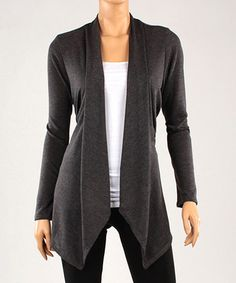Love this Charcoal Asymmetrical-Hem Open Cardigan on #zulily! #zulilyfinds