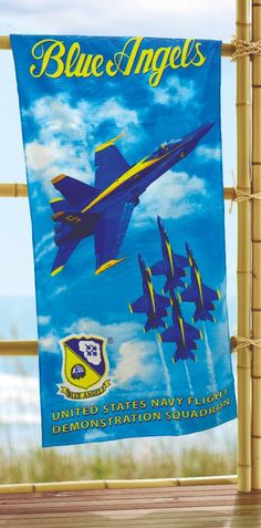 """BLUE ANGELS BEACH TOWEL Cotton Licensed US Navy Blue Angels Product Famous Brazilian Beach Towels !! 100% Cotton, Fiber Reactive, Print and Bright Colors, Velour Beach Towel Perfect for Beach and Outdoor Activities! Measures 30""""X60"""" Vulcano America is the ONLY authorized seller for this product in the USA Weighs 14 ounces (based on manufacture's information)"""