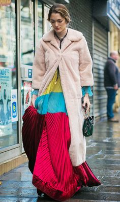 maximalism-fashion-trend \ long length fur coat, colour block maxi dress