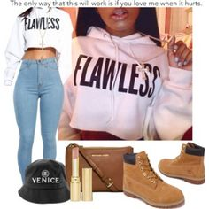 A fashion look from June 2014 featuring Timberland ankle booties, MICHAEL Michael Kors shoulder bags and Jennifer Fisher necklaces. Browse and shop related loo… Dope Fashion, Fashion Killa, Urban Fashion, Teen Fashion, Fashion Outfits, Womens Fashion, Swag Outfits, Dope Outfits, Urban Outfits