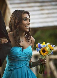 Sunflower Wedding Bouquet Ideas | aqua wedding ideas attendant bouquet sunflower