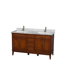 Hatton 60 inch Double Bathroom Vanity in Light Chestnut, White Carrera Marble Countertop, Undermount Square Sinks, and No Mirror