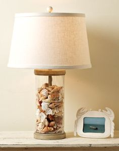 Cool...fill a glass lamp base with sea shells and set a picture of the beach or vacation they are from next to it!