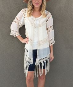 $29.99 Love this Ivory Crochet Fringe Tie-Front Cardigan on #zulily! #zulilyfinds