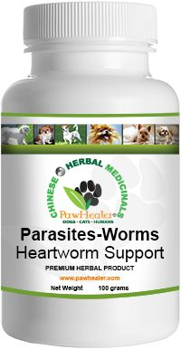 Pawhealer.com - Herbal Heart Worm Support: Herbal Formula Indications:     Heartworm      Heartworm prevention The Shang Han Lun  provides Chinese herbalists the knowledge to support one's ability to naturally expel roundworms. In  the case of humans, infestation occurs in the gallbladder or intestines, and in canines the worms will nest in the heart and/or the intestines. Chinese herbal medicine has been using herbs to expel roundworms for thousands of years.