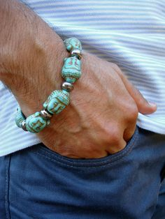 Men's Spiritual Tibetan Buddha Bracelet with Semi by tocijewelry, $45.00
