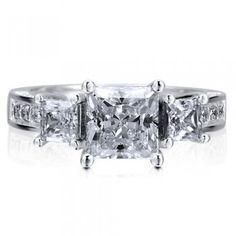 Sterling Silver 925 Princess Cut Cubic Zirconia CZ 3-Stone Ring #r617
