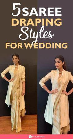 5 Saree Draping Styles For Wedding: If you're look Saree Wearing Styles, Saree Styles, Sari Draping Styles, Saree Jacket Designs, Latest Saree Blouse, Saree Jackets, Celebrity Casual Outfits, Nauvari Saree, Drape Sarees
