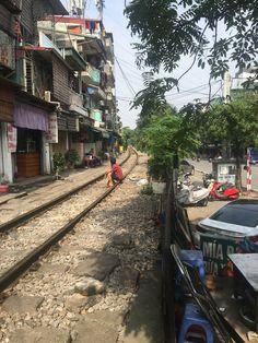 He knows the timetable.I hope! Train street in Hanoi Hanoi, Train, Street, Roads, Walkway, Trains