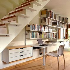 Beautiful Design of Storage under Stairs; Maximize Your Unused Space with Function : Modern Home Office Under Stairs Storage With White Table And Chair Also Floating Bookcases Office Under Stairs, Shelves Under Stairs, Space Under Stairs, Stair Shelves, Bookshelves Built In, Stair Storage, Book Shelves, Shoe Storage, Storage Rental