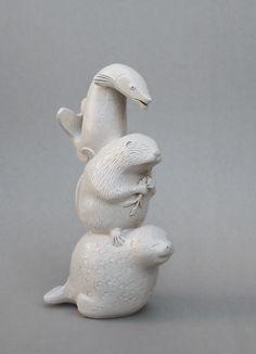 Ringed seal, Beaver and Pike Totem. Aura Kajas 2017. Handbuilt unique sculpture. Ceramics. Art. Animals. Symbolism.