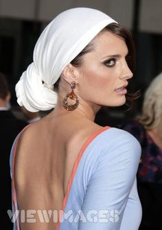The way the scarf is worn in her hair.