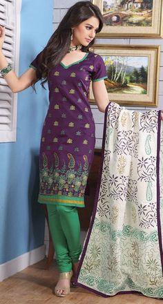 $42.44 Purple Embroidered Cotton Churidar Salwar Kameez 23687
