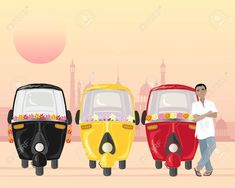 an illustration of a row of parked auto rickshaws in different colors with an asian taxi driver in a white shirt under an urban setting sun Stock Vector - 19612517