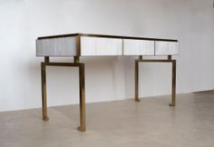 Gypse & Patinated Brass Desk Designed by Douglas Mackie and created by Jallu Ebenistes