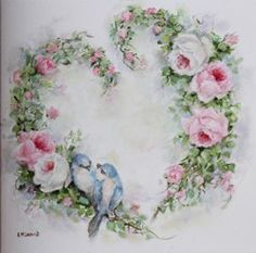 Original Painting on Canvas – Birds Roses Heart Wreath – Postage is included Australia Wide Decoupage Vintage, Decoupage Paper, Vintage Paper, Vintage Cards, Back Painting, China Painting, Molduras Vintage, Illustration Blume, Rose Pictures