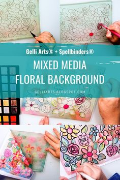 In this step-by-step video you can watch Mariví González create a stunning mixed media floral monotype using a Gelli Arts® gel plate and markers and Palette Pastels by Jane Davenport for Spellbinders. Distress Ink Techniques, Art Journal Techniques, Art Journal Pages, Art Journaling, Diy Cadeau, Gelli Plate Printing, Gelli Arts, Alcohol Ink Art, Paint Markers