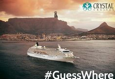 Hitch is wishing the Crystal Symphony farewell from which Southern Hemisphere port? Hitch is sitting atop Cape Town, South Africa