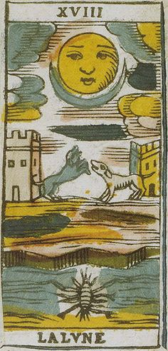XVIII LA LVNE, from Ancient Tarots of Lombardy originally published in 1810. The major arcana and court cards are of a neoclassical artistic style.