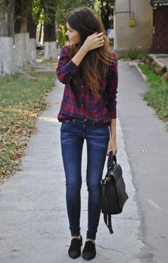 skinnies, flannel shirt, wear w toms, vans, or oxfords. I feel like this would look frumpy on me, though.. :(