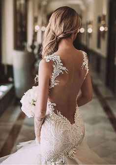 Illusion back bridal gown with a tulle skirt!