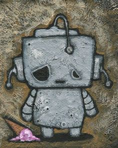Trademark Fine Art 'Weebot-Icecream' Canvas Art by Craig Snodgrass, Size: 35 x Assorted Posca Art, Arte Robot, Face Cleanser, Luxury Gifts, Surf Shop, Mother Day Gifts, Clear Acrylic, Painting Prints, Paintings