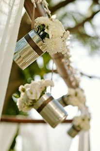 Hanging Flower Cans with Twine