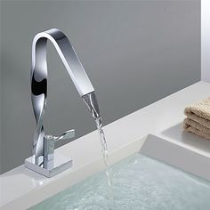 Contemporary Modern Centerset Waterfall Ceramic Valve Single Handle One Hole Chrome, Bathroom Sink Faucet 2019 - US $105.83