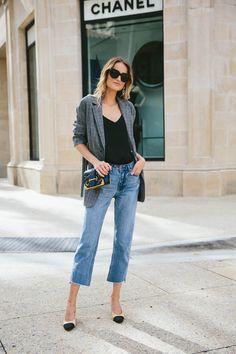plaid blazer, oversized jeans