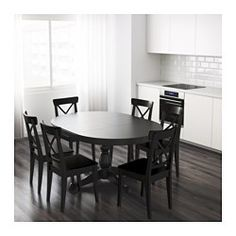 IKEA - INGATORP, Extendable table, One extension leaf included.Extendable dining table with 1 extra leaf seats 4-6; makes it possible to adjust the table size according to need.Concealed locking function prevents gaps between top and leaf and keeps the extra leaf in place.The extra leaf can be stored within easy reach under the table top when not in use.Stands steady also on uneven floors thanks to the adjustable legs.The clear-lacquered surface is easy to wipe clean.