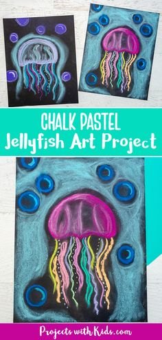 Create this colorful jellyfish art project with just a few simple supplies and easy chalk pastel techniques. A great ocean art activity kids will love to make! Colorful Jellyfish, Jellyfish Art, Jellyfish Drawing, Watercolor Jellyfish, Jellyfish Tattoo, Tattoo Watercolor, Jellyfish Crafts, Chalk Pastel Art, Chalk Pastels