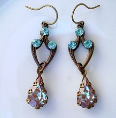 Saphiret Glass Earrings -Vintage