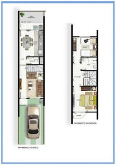 Narrow House Designs, Modern Small House Design, Simple House Design, House Front Design, Tiny House Design, Mini House Plans, Narrow House Plans, House Layout Plans, House Layouts