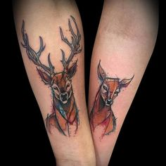 Lovely Deer Couple Tattoo by César Castillo Marquez #boulderinn
