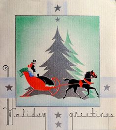 Vintage Christmas Art Deco Card Sleigh Ride 1930's