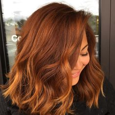 Pumpkin Spice Lattes are almost as good as Pumpkin Spice hair! This warm auburn hair color is a perfect choice for Fall. hair color Pumpkin Spice Color Is the Newest Way to Add Fall Flair to Hair Red Hair Color, Autumn Hair Color Auburn, Auburn Hair Colors, Autumn 2018 Hair Colour, Autumn 2018 Hair Trends, Highlights On Auburn Hair, Red Hair Trends 2018, Autumnal Hair Colour, Bob Hair Colour Ideas