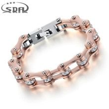 Cheap bracelets for, Buy Quality motorcycle chain bracelet directly from China chain bracelet Suppliers: SDA High Quality IP Rose Gold Color Crystal Motorcycle Chain Bracelet For Women Stainless Steel Biker Chain Bracelets Bike Chain Bracelet, Bangle Bracelets, Bangles, 316l Stainless Steel, Stainless Steel Bracelet, Jewelry Sets, Jewelry Accessories, Mens Gold Jewelry, Trendy Bracelets