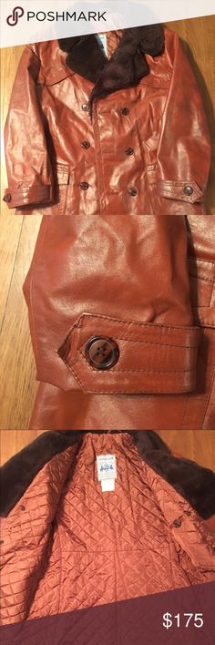 VINTAGE IMPORTED 1970's German Leather Peacoat Vintage tan leather imported peacoat with faux fur collar. Quilted lining. Impeccable condition! Looks new! Approximately Women's size M. Jackets & Coats Pea Coats