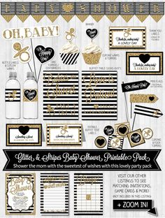 INSTANT DOWNLOAD - Girl Baby Shower Decor Gold Glitter & Black Baby Shower Pack Black and White Banner Thank You Card DIGITAL files
