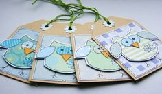 Little Summer Owls - Set of 4 Gift Tags - Blue and Green Cute Gifts, Owls, Mushroom, Gift Tags, Cardmaking, Embellishments, How To Draw Hands, My Etsy Shop, June