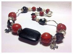 Edelstein Halskette Granat Schaumkoralle Perle Pearl Necklace Jewelry