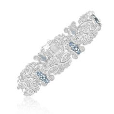 $399.99 - 6 Carat Aquamarine & Diamond Bracelet in Sterling Silver