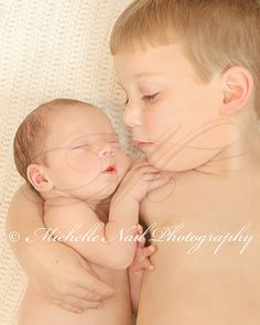 Newborn Photography Idea ... Brotherly Love ... This pose works well for any toddler and baby brother or sister. I love the closeness and the sweet expression on big brother's face.  <3
