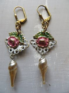 Pink White Patinaed Brass Filigree Rose Glass by DebsVintageSoul   Mother's Day Flowers