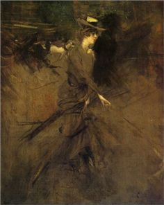In the Promenade (1904-05) by Italian painter Giovanni Boldini (1842-1931). This oil on panel is now in a private collection.