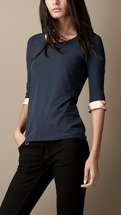 Navy Check Cuff Stretch-Cotton Top - Image 1